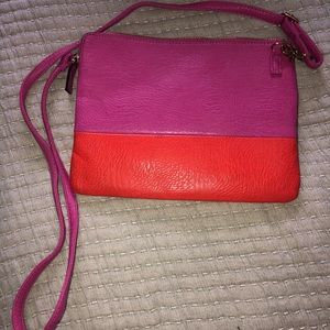 Anthropologie Hot Pink & Orange crossbody bag